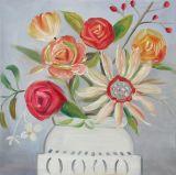 Verse Kleurrijke Bloem met een Decor van het Huis van het Olieverfschilderij van de Vaas Met de hand gemaakt