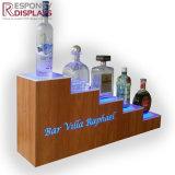 Counter-Top de Houten Tribune van de Vertoning van de Wijn van de Houder van de Fles van de Alcoholische drank met Licht