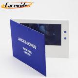 Botão de bloqueio de couro Facevideo ecrãs LCD Brochura Vídeo Livro de cartões de saudação para imóveis