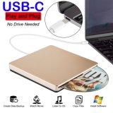 Externe DVD CD van de Aandrijving USB C DVD CD DVD van de Aandrijving van de Speler Externe Brander USB C Superdrive voor het Werk PC/Laptop/Mac/Air/PRO voor Vensters/MAC Osx/Uitzicht (Goud)