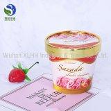 Banheira de venda de sorvete de capa de papel personalizado com tampa de cor dourada
