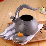Diseño de la venta de mejor forma de elefante silbido esmalte hervidor de agua con mango de baquelita