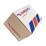 Caixa de papel dobrado branca com impressão a cores