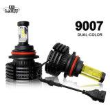 Super brillante de color dual H13 faros LED H4 H1 3000K 6500K Coche bombilla LED H7