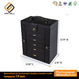 Black Jewelry Gift Box with Mirror Handle and 6 Drawers