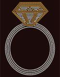 Anel de diamantes jóias Rhinestone Design de transferência motivo de hotfix