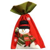 Logo personnalisé de promotion de Noël en toile de jute naturel coulisse des sacs pour un emballage cadeau
