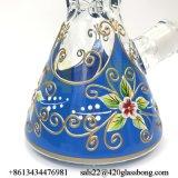 Handgemalter Stärken-Glasbecher-rauchendes Wasser-Glasrohr des Blumen-Entwurfs-7mm auf Lager