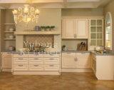 Os gabinetes de cozinha brancos da madeira contínua da cor dirigem a mobília