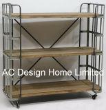 3つの層の旧式な型の装飾的な電流を通されたまたは金属ラックステップ棚のトロリー