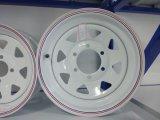 14X5.5 de witte Auto van de Aanhangwagen rijdt 8 Randen van het Wiel van het Staal Spokes