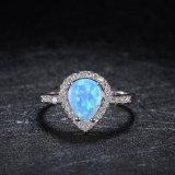 El último anillo de piedra del ópalo de imitación plateado del oro blanco de la joyería del estilo