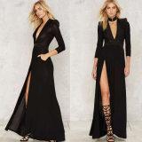 Robe de soirée de chemise d'épaule de Madame Black Deep V Multi-Layer longue