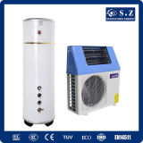 Home Dhw 60deg. C save 80% power 5kw, 7kw, 9kw High Cop5.32 R410A Tankless vertically Heat pump with solarly Energy Thermal Collector