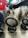 Pn16 CF8/SS304 todas as pastilhas de aço inoxidável com a alavanca da válvula de borboleta