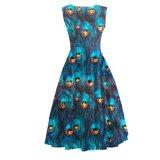 Ретро воодушевлянное платье партии печати павлина лимона сексуальное для женщин