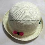 100% соломенной шляпе, Мода Малый Оборот Брим Стиль с цветком ленты украшения для детей