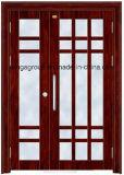 Portello d'acciaio del metallo di obbligazione esterna di legno di colore di alta qualità (W-S-147)