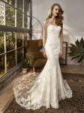 Vestido de casamento nupcial do vestido de noite da sereia Strapless do Applique do laço