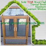окно Casement цвета отделкой зерна древесины красного дуба 3D деревянное, окно металла качества алюминиевого плакирования деревянное