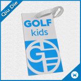 Etiqueta del cabrito del golf con el uso de la cadena para la tela de la ropa