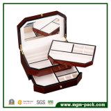 Caja de almacenamiento de joyería de madera hechos a mano para regalo