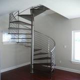 ステンレス鋼の柵が付いている純木の螺旋階段