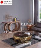 円形のガラスコーヒーテーブルはステンレス鋼フレームとセットした