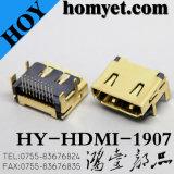 Los fabricantes suministran el conector femenino de ángulo recto de 19pin SMT HDMI para los aparatos electrodomésticos