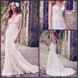 Encolure en V robes de mariée Tulle Mermaid Beach Garden Boho bijoux robe de mariée MK20118