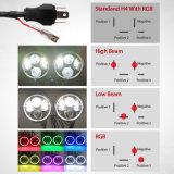 """Control remoto de fábrica resistente al agua el cambio de Colord Anillo Halo RGB Angel Eyes DRL Ronda 7"""", faros LED para Jeep"""