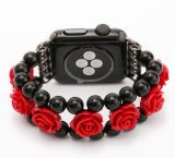 Correa de reloj de lujo de la piedra de la ágata de la flor para la venda de Apple Iwatch