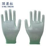 doublure blanche du polyester 13G avec les gants enduits blancs de sûreté d'unité centrale pour l'industrie électronique