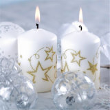 Чисто белая остроконечная верхняя свечка штендера для благословения рождества