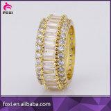 Anillo de Oro 18K de cristal de forma redonda de Zirconia anillos de joyería