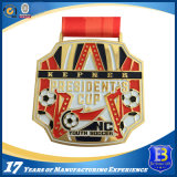 Il metallo del metallo di calcio mette in mostra le medaglie con il marchio del cliente e della sagola