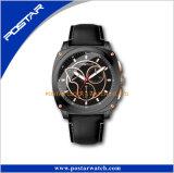 Relógio de couro impermeável da tampa original do aço inoxidável do movimento de quartzo