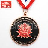 Medalha preta dos medalhões do chapeamento niquelar do metal com fita feita sob encomenda