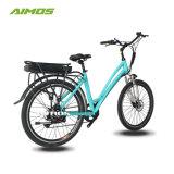 Etapa através de bicicletas eléctricas da cidade com bateria de bastidor traseiro