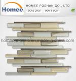 Venta caliente bajo precio de fábrica de mosaicos de color beige tiras de revestimiento decorativo mosaico de piedra de cristal