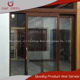 Puerta deslizante de cristal de mirada de madera del doble de aluminio del marco con las parrillas