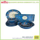 青い花完全なプリントHomewareのメラミン食事用食器セット