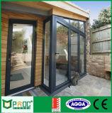 Дверь алюминиевого профиля строительного материала Bi-Fold с двойником застеклила