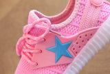 2017 Nuevo diseño de los niños zapatos Unisex LED parpadeando estrellas Zapatos de lona plano inferior de goma