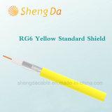 RG6 CATV Standard-Schild Belüftung-gelbe Umhüllungen-Koaxialkabel