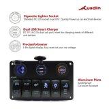 Светодиодный индикатор на панели переключателя - Кулисный переключатель батареи 6 + 2 зарядное устройство USB порта + вольтметр дисплей с цифровой Voltmete гнезда прикуривателя