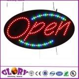 Signe ouvert d'intense luminosité avec le signe ouvert d'ovale d'éclairage LED d'animation