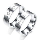 La moda Mujeres Hombres parejas Siliver Joyería anillo de acero inoxidable