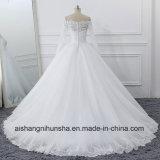 Mangas longas vestido de noiva gaze fina Applique elegante vestido de casamento