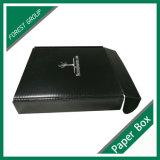Barniz satinado Negro Caja de envío con Logo blanco